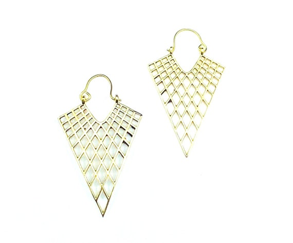 GOLD tone Brass SPIKE Earrings With Cutout Web Details Statement Stylish
