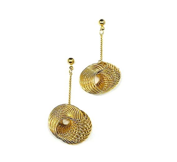 Vintage GOLD Tone Spiral Wire Chain Dangle Pierced Earrings Minimalist 80's 90's Lightweight Geometric