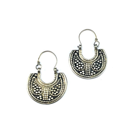 Vintage Afghan Tribal SILVER Tone Color Middle Eastern Hoop Crescent Moon Earrings Pierced Metal Boho Chic Bohemian Etched Oxidized
