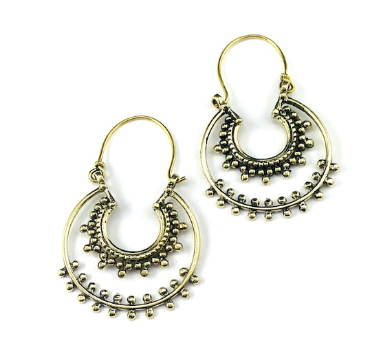 Silver Color Metal Middle Eastern Afghan Crescent Hoop Pierced Dangle Boho Chic Hippie Earrings Jewelry