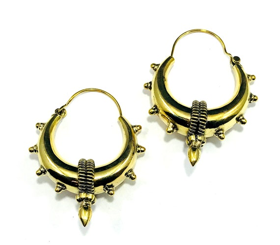 GOLD Color Brass Hoops Spikes Goth 80s Boho Tribal Bohemian Metal Chic Industrial Artisan Cast Earrings Hoop