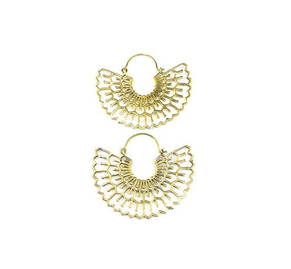 STATEMENT Half Moon Half Circle GOLD Tone BRASS Metal Hoop Earrings Indian Middle Eastern Tribal Artisan Geometric
