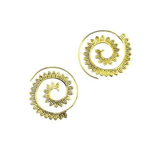 Gold Tone Brass Leaf Spiral Earrings