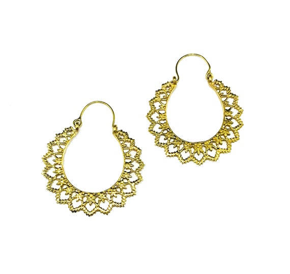 GOLD Tone Brass Indian Middle Eastern Filigree Cutout Cut out Metal Artisan Hoop Hoops Earrings Jewelry