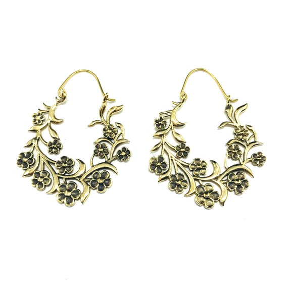 STUNNING Floral Etched Carved GOLD Color Brass HOOP Earrings Statement Boho Unique Hippie Chic Bohemian