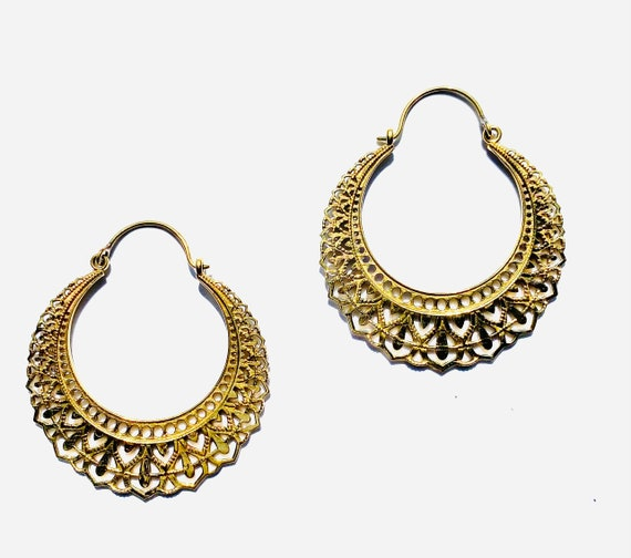 GOLD Tone Cutout Brass Filigree Earrings Hoop Hoops Indian Middle Eastern Boho Chic Unique