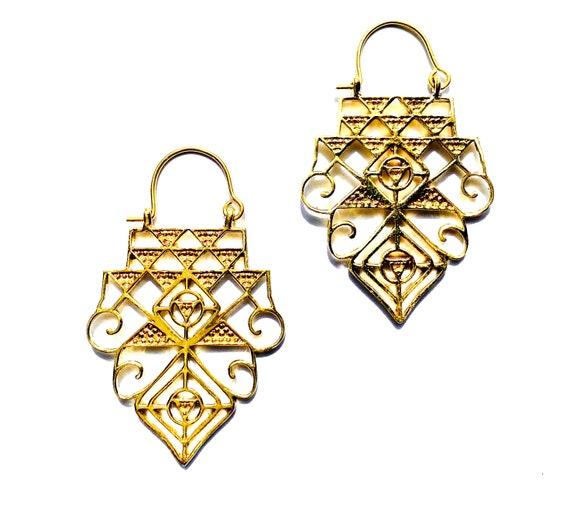 Intricate Indian Middle Eastern Cutout Earrings Gold Tone Brass Boho Tribal Unique Drop Earrings
