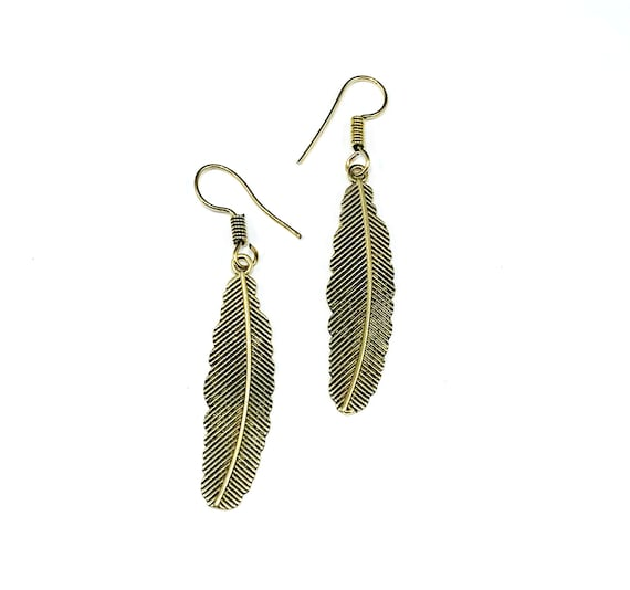 Gold Tone Color Etched Brass Metal Tribal Leaf Dangle Hook Earrings Boho Bohemian Chic Nature Design Jewelry