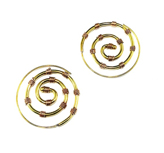 GOLD Tone Copper Brass Metal Spiral HOOP Tribal Nomad Indian Middle Eastern Pierced Boho Bohemian Chic Artisan Earrings Jewelry