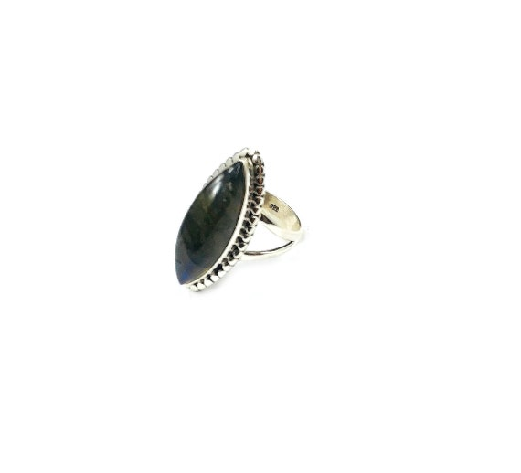 Sterling SILVER 925 LABRADORITE Stone Gemstone STATEMENT Cocktail Ring Jewelry Hippie Boho Bohemian Size 7