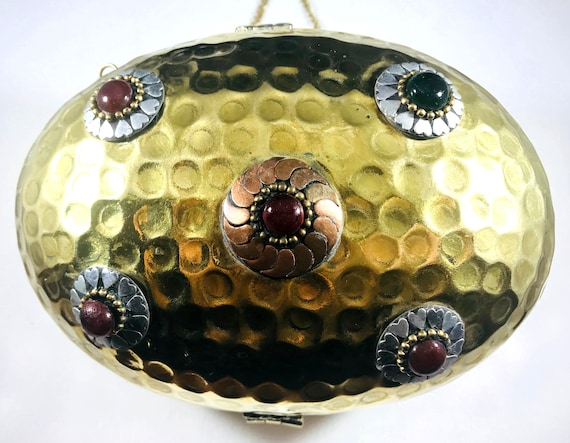 Vintage Art Deco Egg Shaped Stone Metal Purse Handbag Gypsy Indian Middle Eastern Evening Bag Purse