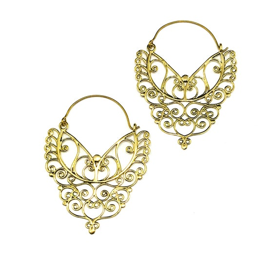 GOLD Color Brass Artisan FILIGREE Hoop Hoops Earrings Middle Eastern Indian Style STATEMENT Boho Chic Bohemian