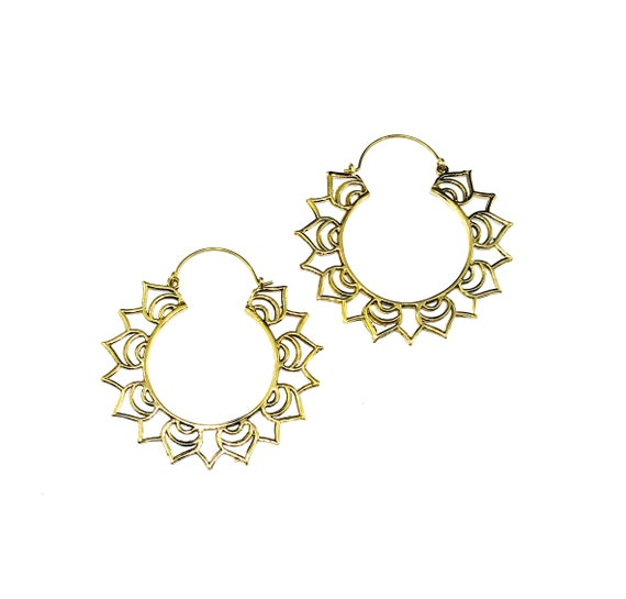 GOLD Tone BRASS Lotus Flower Petal HOOP Earrings Metal Boho Artisan Indian Middle Eastern Statement Jewelry