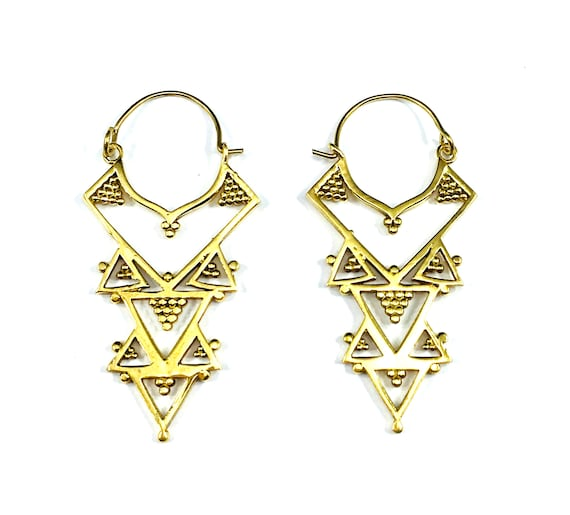 GOLD Tone Brass Tribal Triangle Geometric Pierced Drop Dangle Earrings Indian Middle Eastern Boho Bohemian Chic Nomad