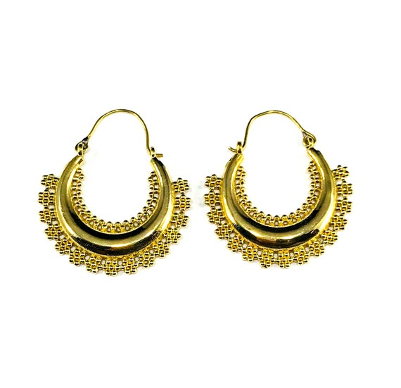 GOLD Tone Color BRASS Hoop Earrings Beaded Embellished Carved Design Ethnic Indian Middle Eastern Unique Stylish Boho Chic Tribal Jewelry