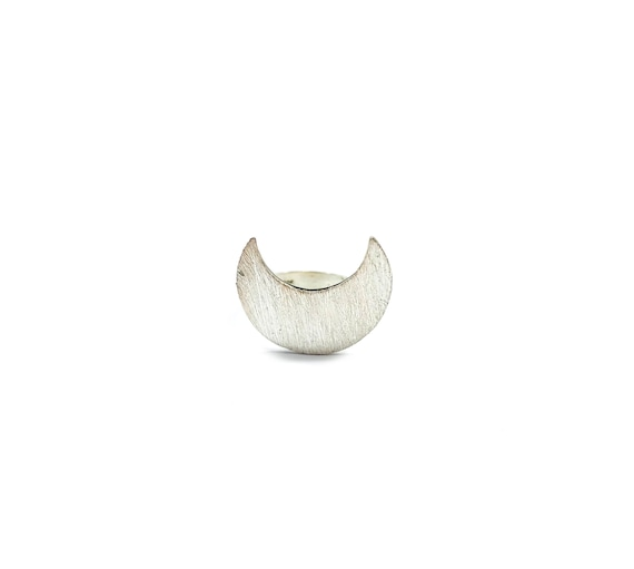 STANDOUT Sterling Silver Ring Crescent Moon Magical Mystical Statement Ring Size 5