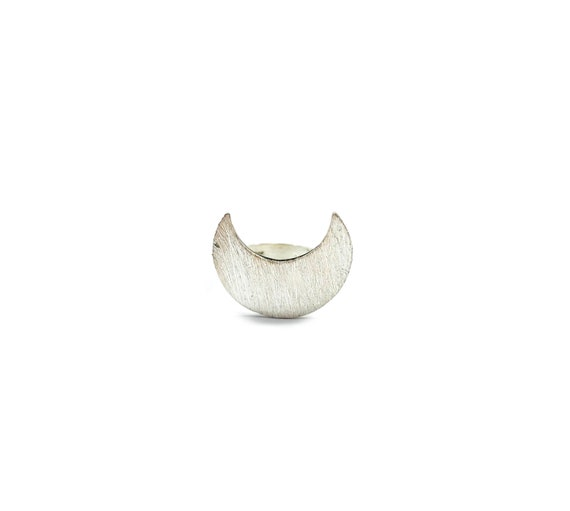 STANDOUT Sterling Silver Ring Crescent Moon Magical Mystical Statement Ring Size 5 6