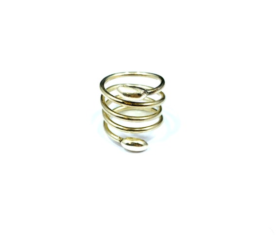 Vintage Sterling SILVER Bead Coil Spring Ring Boho Bohemian Industrial Chic Size 6.5