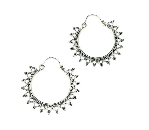SILVER Tone BRASS Hoop Earrings Hoops Filigree Cut Out Jewelry Indian Middle Eastern Boho Bohemian Style