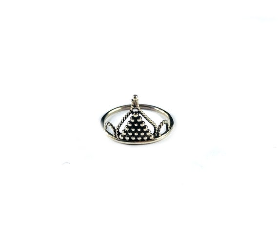 STACKABLE Lightweight Thin Band Sterling SILVER Crown Ring Hippie Boho Chic Bohemian Filigree Artisan Intricate Design Size 5.5