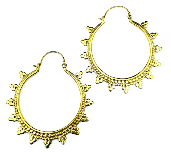 GOLD Tone Brass Artisan Details HOOP Earrings Indian Jewelry Boho Bohemian Chic