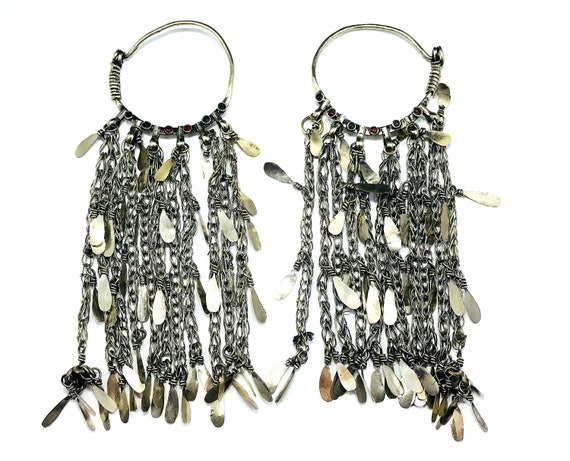 SHOULDER Grazing Extra LARGE Huge Afghan Vintage Tribal Nomad Thick Gauge Earrings Boho Bohemian Industrial Gypsy Chic Jewelry Silver Color