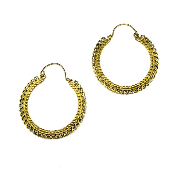 GOLD Color BRASS Filigree Cutout Cut Out Circle Round Design Artisan Indian Middle Eastern Hoop Earrings