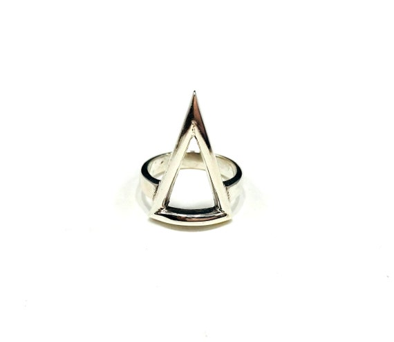 SILVER Triangle SPIKE Goth Cutout STATEMENT Ring Artisan Tribal Nomad Rare Size 5.75