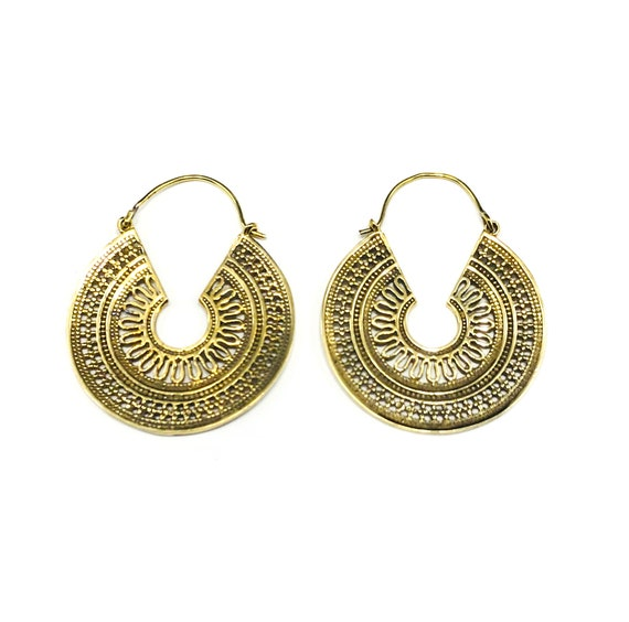 GOLD Color Cutout Etched Brass HOOP Earrings Indian Middle Eastern Boho Bohemian Chic