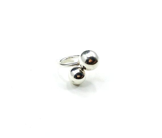 Vintage STERLING SILVER Minimalist Artisan Art Bead Ball Unique Adjustable Ring Boho Chic Bohemian Statement Jewelry 5 5.5 6