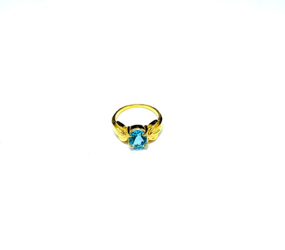 BRILLIANT Blue TOPAZ Tone HydroGLASS Stone Solitaire Statement Cocktail Ring Gold Plated Art Deco Costume Jewelry Sizes 6 7 8