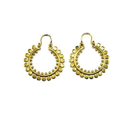 GOLD Tone Circle Detail Solid BRASS Metal Hoop Hoops Earrings Minimalist Mini Hoops Indian Middle Eastern Boho Bohemian Jewelry