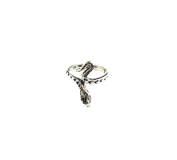 SNAKE Serpent Etched Oxidized Sterling Silver Ring Nature Animals Size 6.5