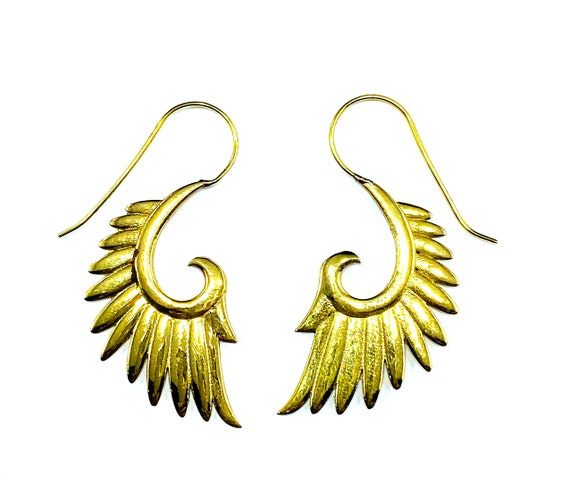 GOLD Tone Brass Metal ANGEL Wings Cast Dangle Earrings Boho Bohemian Chic Indian Middle Eastern