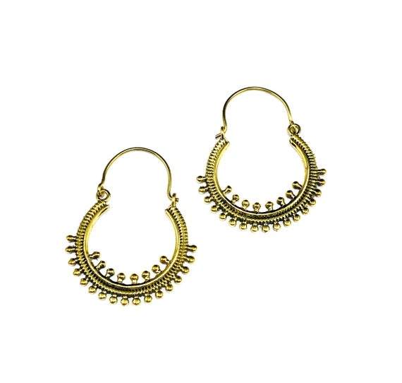 GOLD Tone Brass Metal Bead Hoop Earrings Hoops Indian Middle Eastern Design Artisan Minimalist Boho Bohemian Chic