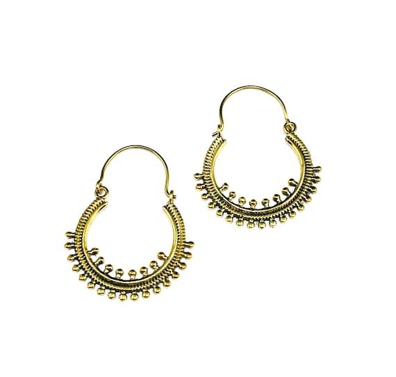 GOLD Tone Brass Metal Bead Hoop Earrings Hoops Indian Middle Eastern Design Artisan Minimalist Boho Bohemian Chic