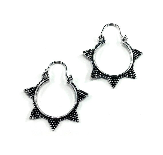 SILVER Color White Brass Mini Spiked Spike Hoop Hoops Earrings Pierced Boho Metal Goth Bohemian Indian Middle Eastern Hippie