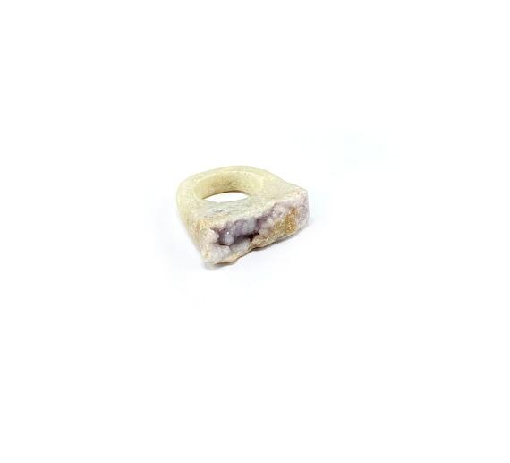 CHUNKY Artisan Druzy AMETHYST Raw Rough STONE Healing  Magical Ring Cut Stone Boho Bohemian Size 8