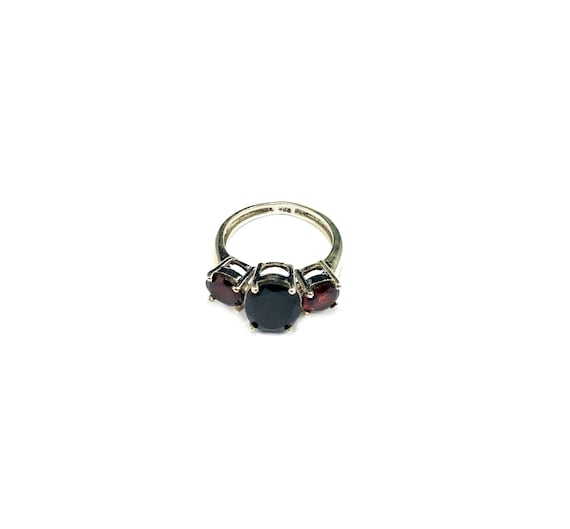 STUNNING Triple GARNET Stone Sterling Silver Band Cluster STATEMENT Ring Statement Holiday Red Stone Size 6