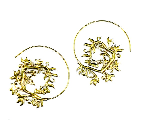 GOLD Tone Brass Leaf Vine Leaves Spiral Hoops Boho Bohemian Chic Hoop Earrings Indian Middle Eastern Artisan