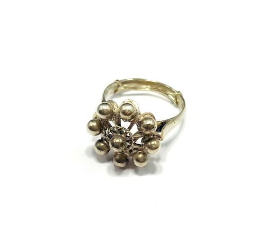 Vintage Floral SILVER Bead Dot Artisan Ring Boho Hippie Bohemian Chic Size 6.5 7