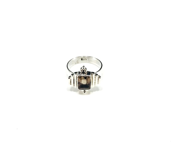 STUNNING Smoky Quartz Regal Sterling Silver Ring Boho Boho Chic Stylish Size 5.5