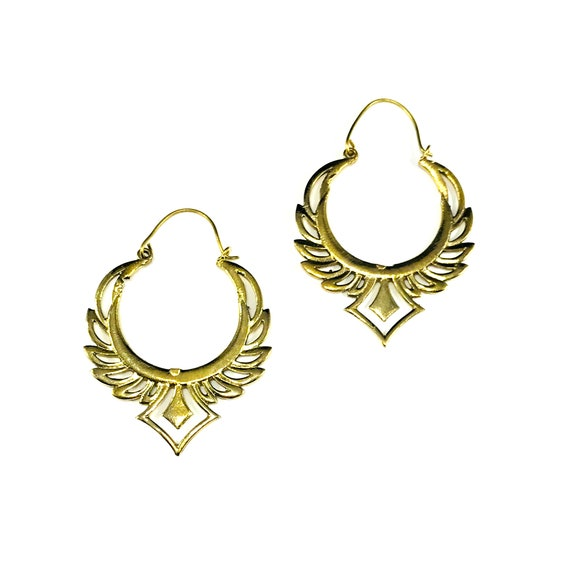 GOLD Tone Color BRASS Tribal Cutout Wings Artisan Indian Middle Eastern Metal Hoop Earrings Boho Bohemian Chic