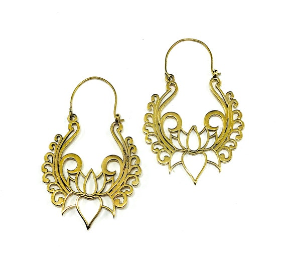 GOLD Color Gorgeous LOTUS Flower Mandala Cutout Indian Middle Eastern Style Earrings Hoops Boho Bohemian Chic Nature