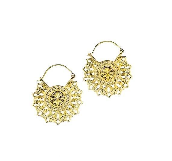 GOLD Tone BRASS Detailed Intricate Cutout Cut Out HOOP Earrings Boho Bohemian Chic