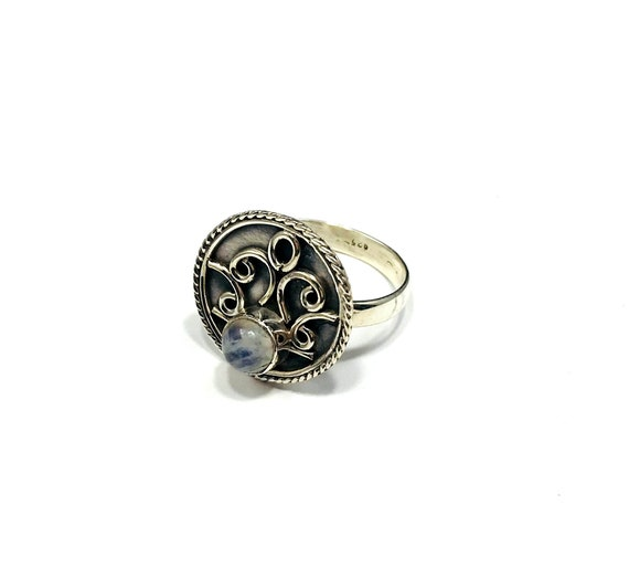 MOONSTONE Artisan Mystical Magical SILVER Ring Boho Celestial Hippie Bohemian Chic Statement Unique