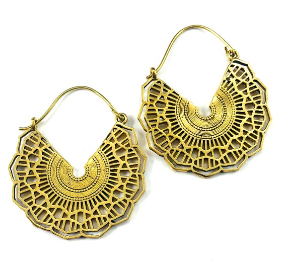 GOLD Tone Color BRASS Highly Detailed Cutout Artisan Tribal 3/4 Hoop Earrings Indian Middle Eastern