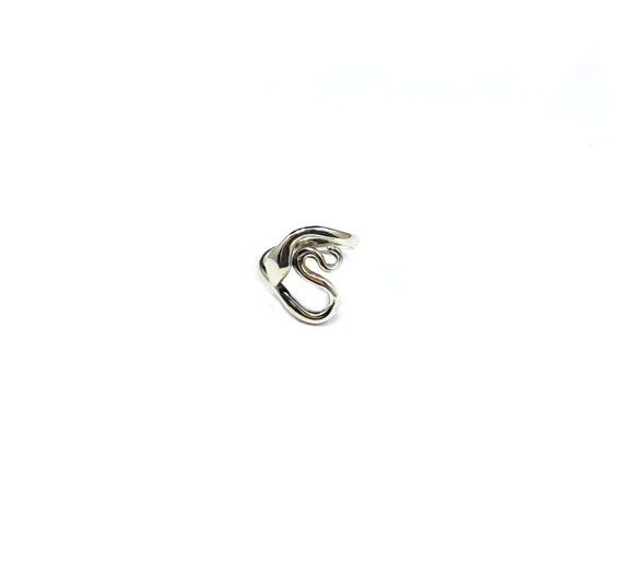 Minimalist SNAKE Serpent Statement Sterling SILVER Ring Wraparound Cutout Cut Out Jewelry Boho Bohemian Size  6 7 8