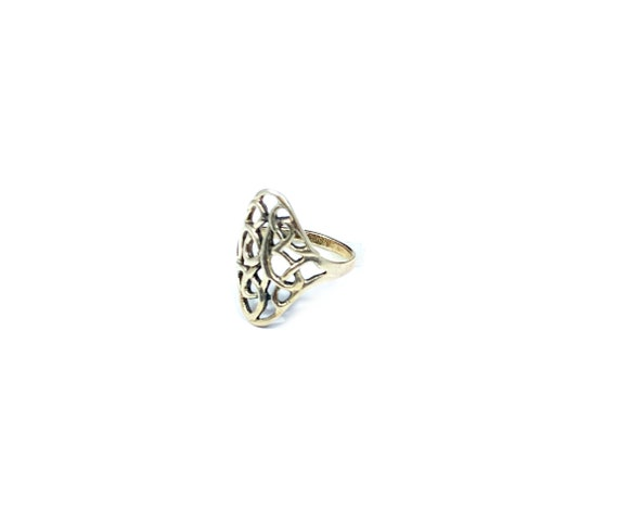 Vintage Twist Abstract Artisan Sterling SILVER Ring Jewelry Boho Bohemian Unique Scribble Twist Ring Size 6.5