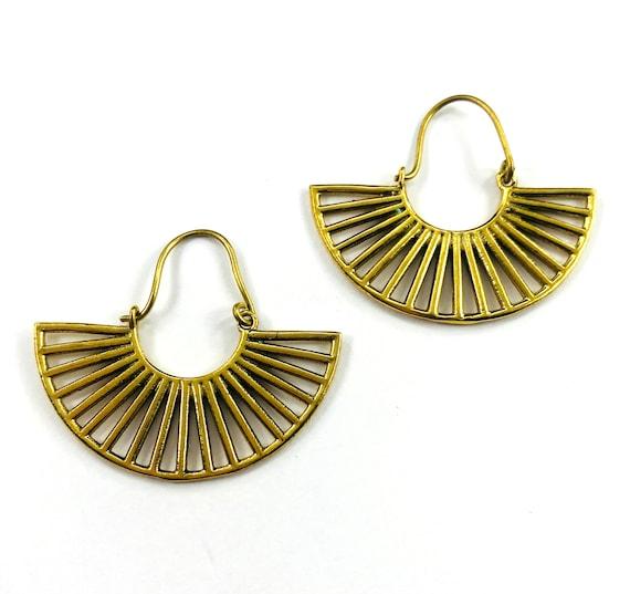 GOLD color Brass HALF Moon Artisan Tribal Earrings Boho Metal Chic Bohemian Stylish Jewelry Pierced Drop Statement Geometric Hoop
